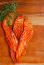 Smocked salmon slices and dill Stock Photo