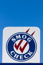Smog check sign at automotive repair shop in the united states Royalty Free Stock Image