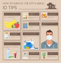 Smog infographic vector illustration how to survive in polluted city design elements icons flat style pollutions and with Royalty Free Stock Image