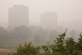 Smog in moscow august bibirevo district on august this was created by peat fires podmoskovye Royalty Free Stock Photo