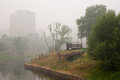 Smog in moscow august bibirevo district on august this was created by peat fires podmoskovye Stock Image