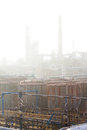 Smog old worn industrial area covered in Royalty Free Stock Images