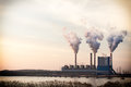 Smoke from chimney of power plant station Royalty Free Stock Photo