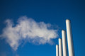 Smoke chimneys factory contaminate the air Stock Images
