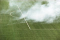 Smoke on the football field Stock Photo