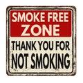 Smoke free zone.Thank you for not smoking vintage metal sign Royalty Free Stock Photo