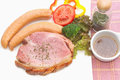 Smoke ham staek with smoked sausage on the white plate Royalty Free Stock Photography