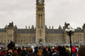 Smoke haze over Parliament Hill during 4/20 rally Royalty Free Stock Photo