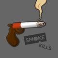 Smoke kills smoking people slowly it is as dangerous as gun Stock Photography