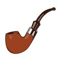 Smoke Pipe isolated on a white background. Color line art. Retro design. Royalty Free Stock Photo