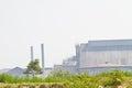 Smoke produced by the smokestacks of paper mill at chonburi thailand Stock Photo