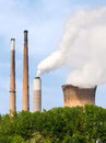 Smoke Stacks and Cooling Tower Royalty Free Stock Photo