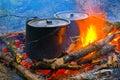 Smoke tourist kettles on fire Royalty Free Stock Photo