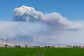 Smoke from a wildfire in western nevada billowing the bison fire Royalty Free Stock Images