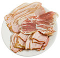 Smoked bacon slices of on a plate Stock Photography
