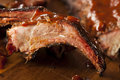 Smoked barbecue pork spare ribs with sauce Royalty Free Stock Photography