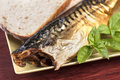 Smoked fish closeup of with fresh basil and sourdough bread on sqaure plate and table Royalty Free Stock Image