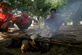 Smoked fish fishermen cook for lunch at cemara island karimun islands central java indonesia Stock Images