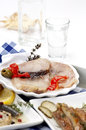 Smoked fish and ouzo assortment of Stock Photography