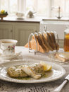Smoked Haddock with Herb Butter and Toast Royalty Free Stock Image