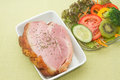 Smoked ham stack with vegetable salad Royalty Free Stock Photo