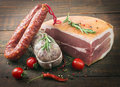 Smoked meat and sausages Royalty Free Stock Photo