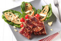 Smoked pork ribs with crispy bread and lettuce Royalty Free Stock Photo