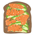 Smoked salmon and avocado on dark rye toast bread. Delicious avocado and lox sandwich. Vector illustration.