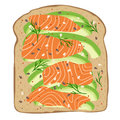 Smoked salmon and avocado on spelt toast bread. Delicious avocado and lox sandwich. Vector illustration.