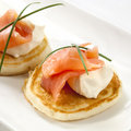 Smoked Salmon Blini Stock Photography