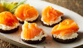 Smoked Salmon Canapes On Quark
