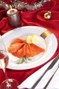 Smoked salmon for Christmas Stock Photo