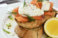 Smoked salmon and egg breakfast Royalty Free Stock Photo