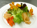 Smoked salmon and nasturtium Stock Photography