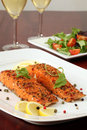 Smoked salmon with pepper crust Stock Images
