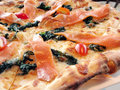 Smoked salmon pizza Royalty Free Stock Image