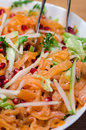 Smoked salmon salad pomegranate and pears close up Royalty Free Stock Image