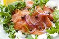 Smoked salmon salad with red onion capers lemon and arugula Stock Image