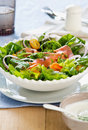 Smoked salmon salad sour cream dressing Royalty Free Stock Photo
