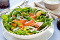 Smoked salmon salad sour cream dressing Royalty Free Stock Photography