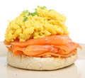 Smoked Salmon with Scrambled Eggs Stock Photo