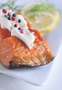 Smoked salmon with white sauce Royalty Free Stock Images