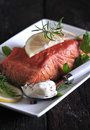 Smoked salmon with white sauce Stock Photo