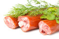 Smoked sausage dill and parsley isolated on white Stock Photography