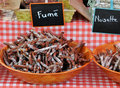 Smoked saussage at Provence market in France Stock Photo