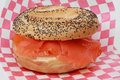 Smoked trout bagel Stock Image