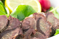 Smoked venison with fresh salad Royalty Free Stock Images