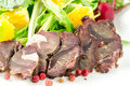 Smoked venison with fresh salad Stock Images