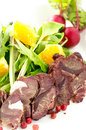 Smoked venison with fresh salad Royalty Free Stock Photos