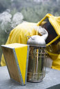 Smoker beekeeper using during hive maintenance Stock Images